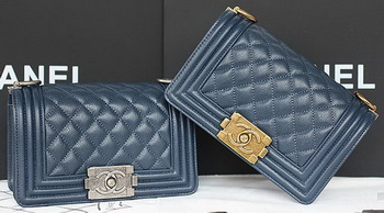 Boy Chanel mini Flap Bag Original Cannage Pattern A67085 Royal