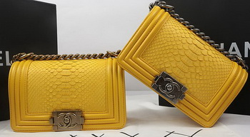 Boy Chanel mini Flap Bag Original Python Leather A67085 Yelllow