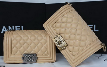 Boy Chanel mini Flap Bag Original Sheepskin A67085 Apricot