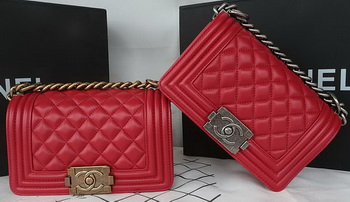 Boy Chanel mini Flap Bag Original Sheepskin A67085 Dark Red