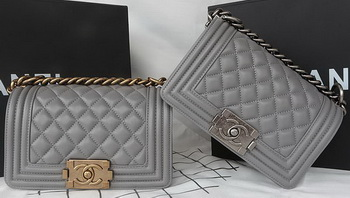 Boy Chanel mini Flap Bag Original Sheepskin A67085 Grey