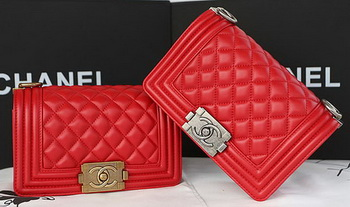Boy Chanel mini Flap Bag Original Sheepskin A67085 Red