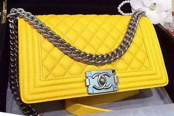 Chanel Boy Flap Shoulder Bags Deer Skin Leather A67086 Yellow