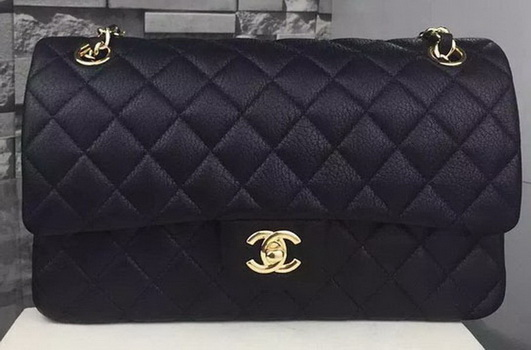 Chanel 2.55 Series Flap Bag Deerskin Leather A1112 Black