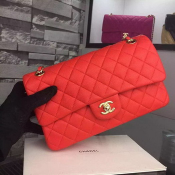 Chanel 2.55 Series Flap Bag Deerskin Leather A1112 Red