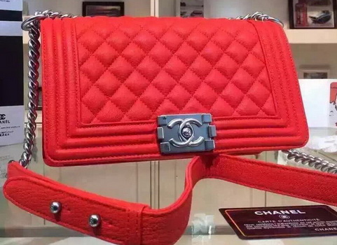 Chanel Boy Flap Shoulder Bags Deer Leather A67086 Red