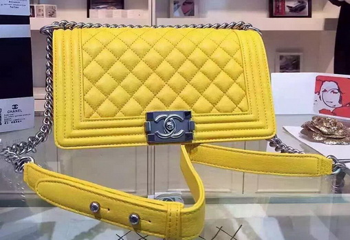 Chanel Boy Flap Shoulder Bags Deer Leather A67086 Yellow