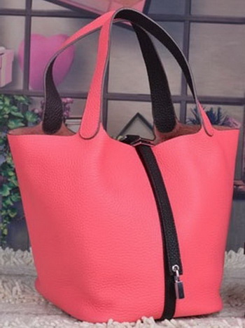 Hermes Picotin Lock 22cm Bags Litchi Leather HPL8618 Dark Pink
