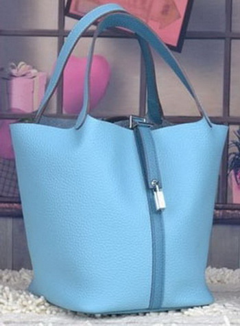 Hermes Picotin Lock 22cm Bags Litchi Leather HPL8618 Light Blue