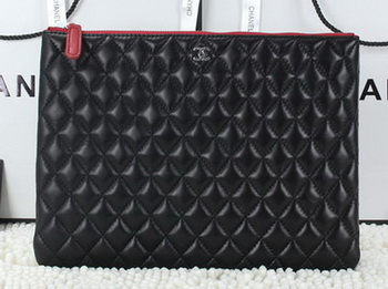 Chanel CA6952 Clutch Bag Sheepskin Leather Black