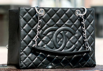 Chanel Classic Coco Bag Black GST Cannage Pattern A50995 Silver