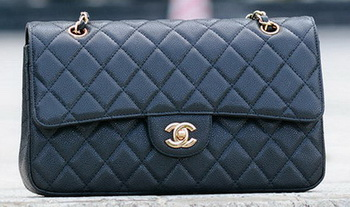 Chanel Classic Flap Bag Black Cannage Pattern A1113 Gold