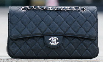 Chanel Classic Flap Bag Black Cannage Pattern A1113 Silver