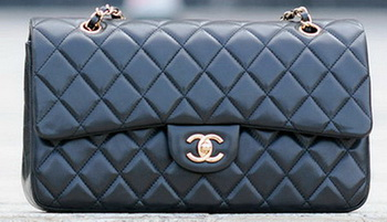 Chanel Classic Flap Bag Black Sheepskin Leather A1113 Gold