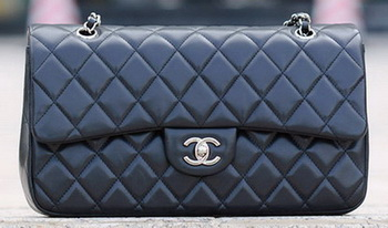 Chanel Classic Flap Bag Black Sheepskin Leather A1113 Silver
