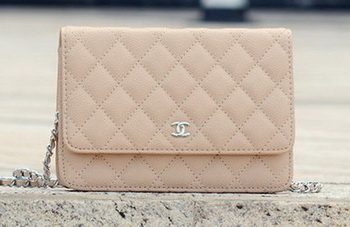Chanel mini Flap Bag Apricot Cannage Pattern A33814 Silver