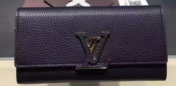 Louis Vuitton Litchi Leather LOUISE WALLET M60766 Black