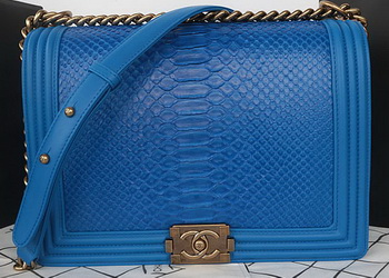 Boy Chanel Flap Shoulder Bag Blue Python Leather A67087 Gold