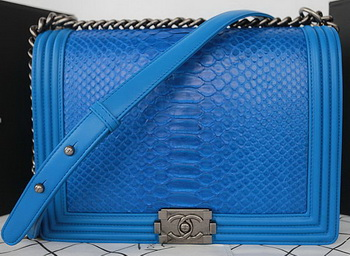 Boy Chanel Flap Shoulder Bag Blue Python Leather A67087 Silver