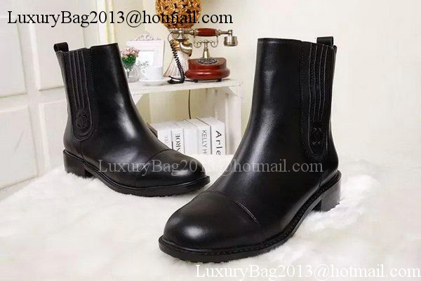 Chanel Sheepskin Leather Ankle Boot CH1415 Black
