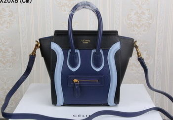 Celine Luggage Nano Tote Bag Original Leather CLY33081S Royal&Black