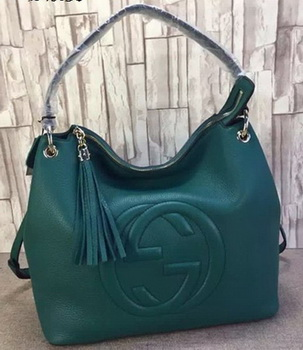 Gucci Soho Leather Hobo Bag Calfskin Leather 408825 Green