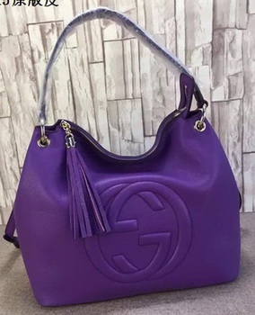 Gucci Soho Leather Hobo Bag Calfskin Leather 408825 Violet