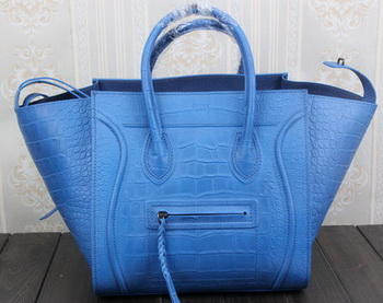 Celine Luggage Phantom Tote Bag Croco Leather CT3341 Blue