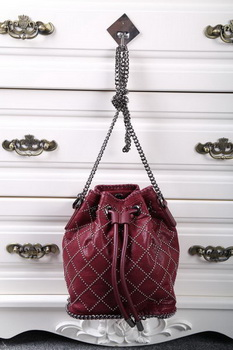 Stella McCartney Falabella Studded Quilted Bucket Bag SMC013 Wine
