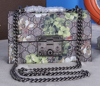 Gucci Padlock Blooms Shoulder Bag 409487 Black