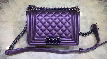 Boy Chanel Flap Shoulder Bag Original Sheepskin Leather A67085 Violet
