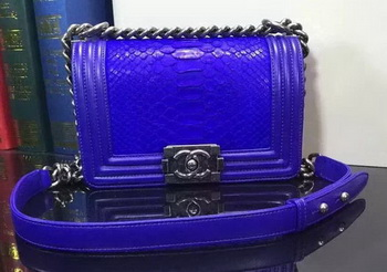Boy Chanel Flap Shoulder Bag Snake Leather A67085 Blue