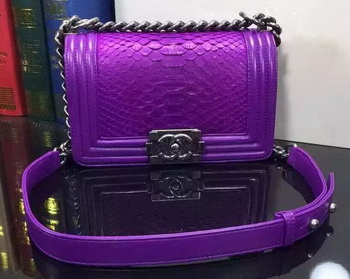 Boy Chanel Flap Shoulder Bag Snake Leather A67085 Purple