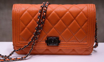 Boy Chanel mini Flap Bags Bright Cannage Pattern A33815 Orange