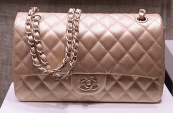 Chanel 2.55 Series Flap Bag Gold Original Caviar Leather A1112 Gold