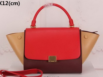 Celine mini Trapeze Bag Original Nubuck Leather CTA3345 Brown&Red&Apricot