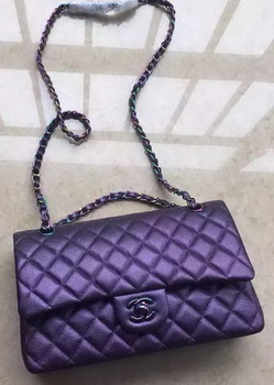 Chanel 2.55 Series Double Flap Bag Original Lambskin Leather A1112 Violet