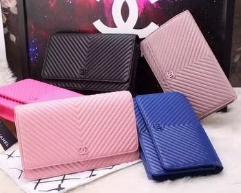 Chanel Clutch Chevron Sheepskin Leather A50048