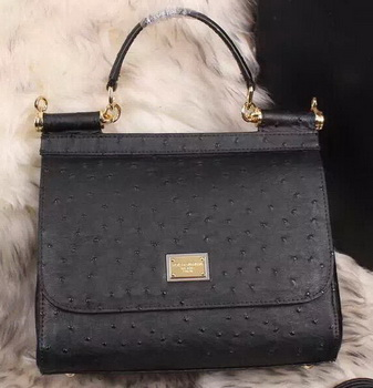 Dolce & Gabbana SICILY Bag Ostrich Leather BB4137TA Black