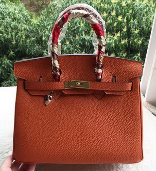 Hermes Birkin 30CM Tote Bags Orange Calfskin Leather BK30 Gold