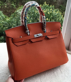Hermes Birkin 35CM Tote Bag Orange Calfskin Leather BK35 Silver