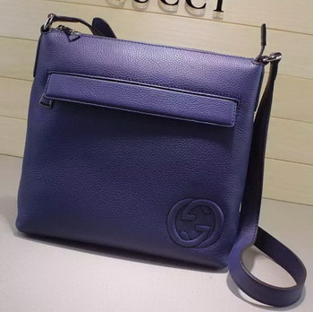 Gucci Calf Leather Messenger BagS 322059 Blue