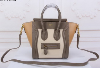 Celine Luggage Nano Tote Bag Original Leather CLY33081S Offwhite&Khaki&Apricot