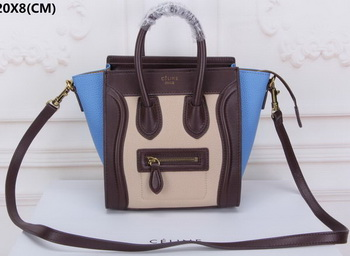 Celine Luggage Nano Tote Bag Original Suede Leather CLY33081S Apricot&Black&Blue