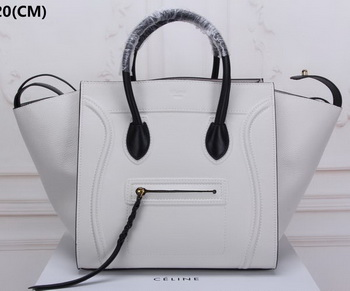 Celine Luggage Phantom Tote Bag Litchi Leather CT3341 White