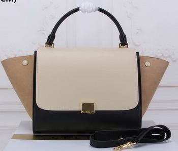 Celine Trapeze Bag Original Suede Leather CT3342 OffWhite&Black&Apricot