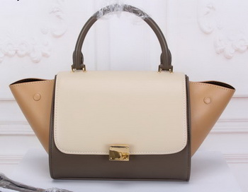 Celine mini Trapeze Bag Original Nubuck Leather CTA3345 OffWHITE&Khaki&Apricot