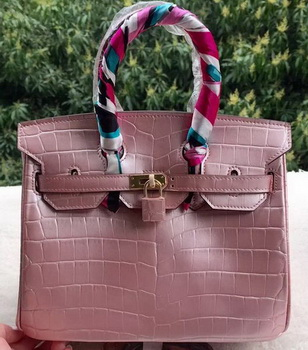 Hermes Birkin 25CM Tote Bag Croco Leather H25TCO Pink