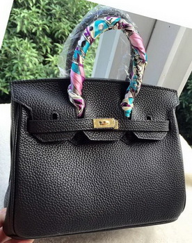 Hermes Birkin 25CM Tote Bag Litchi Leather H25T Black