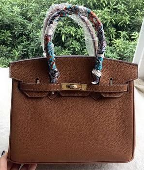 Hermes Birkin 30CM Tote Bags Brown Calfskin Leather BK30 Gold